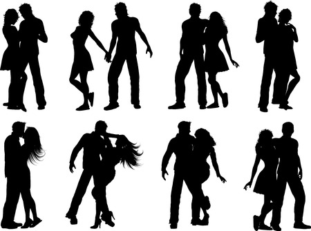Silhouettes of lots of couples in various poses Vector