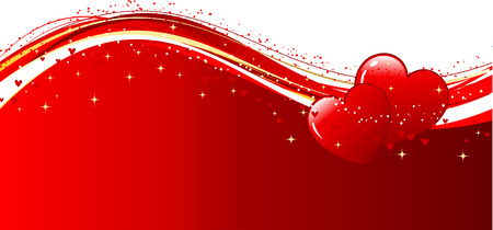 day valentine's day: Decorative Valentines background with two hearts