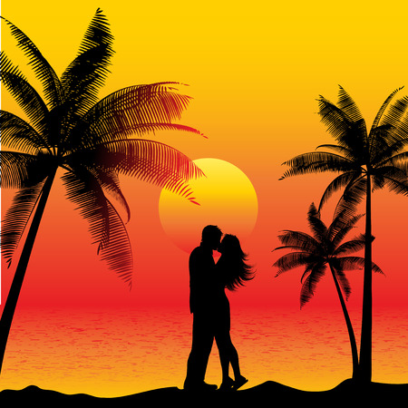 Silhouette of a couple kissing on a beach at sunset Vector