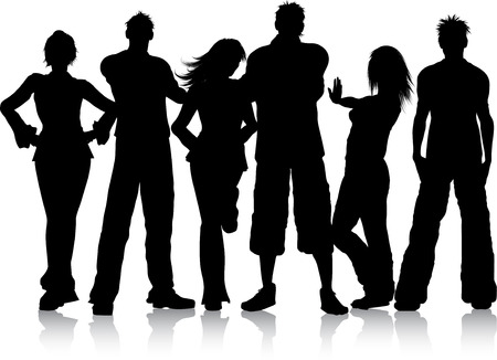 boy friend: Silhouette of a group of young people Illustration