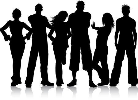 pareja de adolescentes: Silueta de un grupo de j�venes