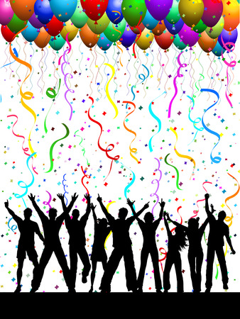 Silhouettes of people dancing on a background with balloons and confetti Vector