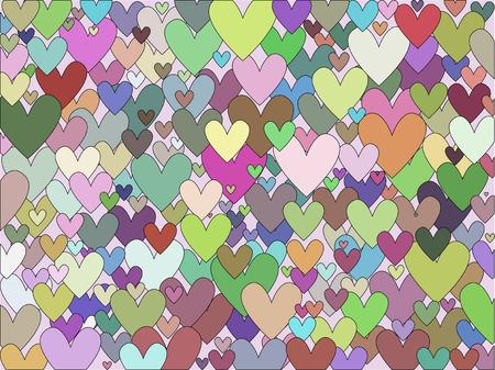 multi coloured: Background of many multi coloured hearts Illustration