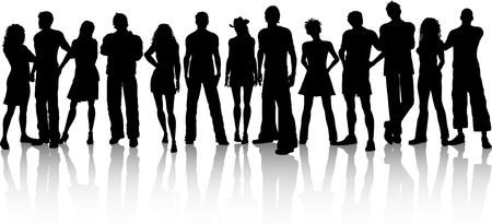 teenage couple: Silhouette of a huge crowd of people on a white background Illustration