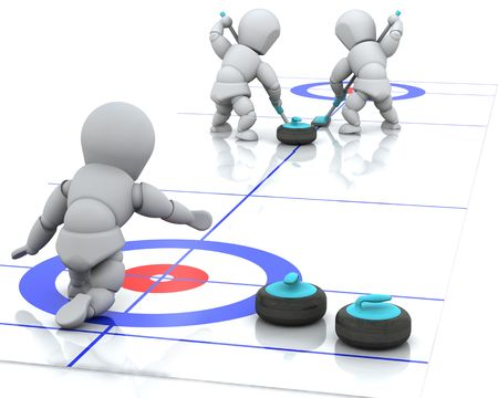 3D render of men curling