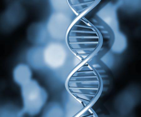 Colourful DNA strands on abstract background photo