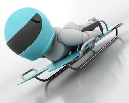 bobsleigh: 3D render of a man competing in the skeleton bobsleigh