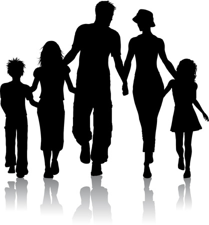 silhouettes of children: Silhouette of a family walking together