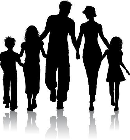 caminando: Silueta de una familia de caminar juntos