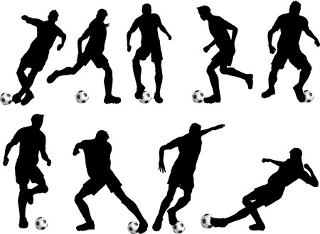 ilhouette: Silhouettes of football players in various poses
