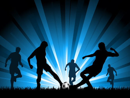 playing soccer: Silhouettes of a group of men playing soccer Illustration