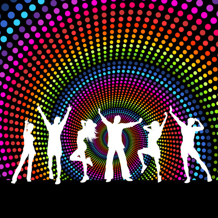 adolescent: Silhouettes of people dancing on a spectrum coloured background