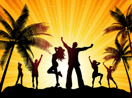 male dancer: Silhouettes of people dancing on a tropical background Illustration