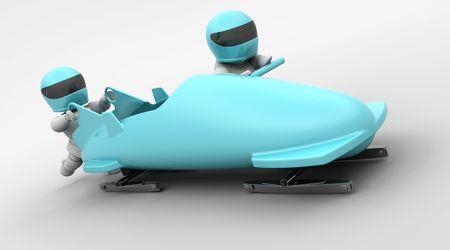 bobsleigh: 3D render of a two man bobsleigh team