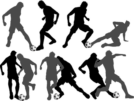 tackling: Silhouettes of footballers in various tackling poses Illustration