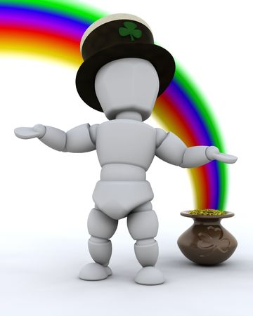 3d render of rainbow and pot of gold for st patricks day photo