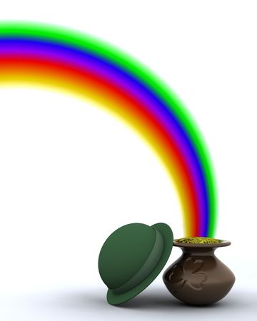 3d rainbow: 3d render of rainbow and pot of gold for st patricks day