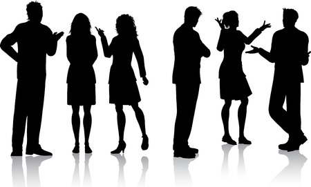 Silhouettes of business people having conversations Stock Vector - 6469532