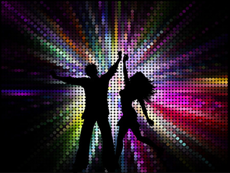 Silhouette of a couple dancing on a spectrum coloured background Stock Vector - 6469543