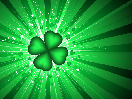 st  patricks' day: Four leaf clover on starburst background