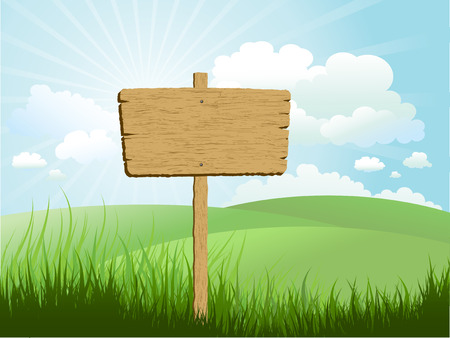 sign in: Wooden sign in grass against a blue sky