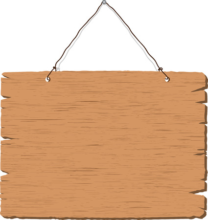 wooden sign: Hanging blank wooden sign on white background