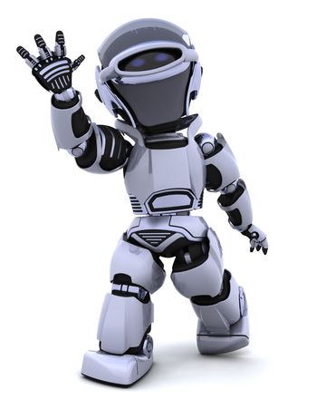 render: 3D render of a robot introducing or presenting