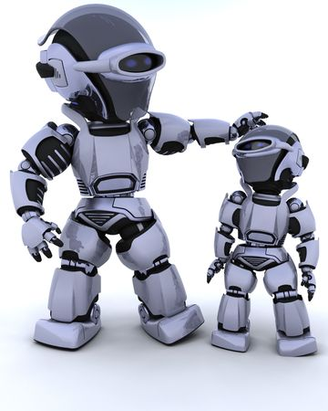 3D render of a robot and child Stock Photo - 6496854