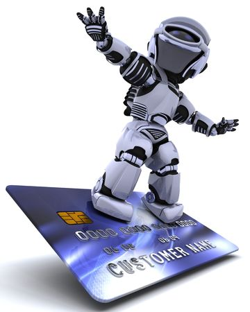 electronic commerce: 3D render of a robot and charge card Stock Photo