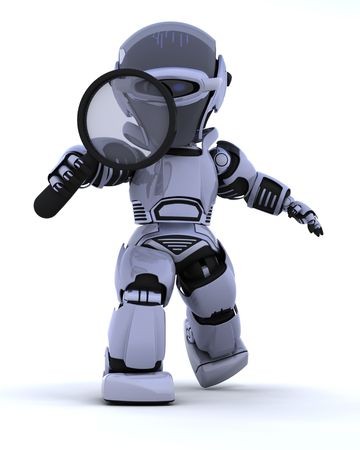 3D render of a robot searching with magnifying glass Stock Photo - 6496858