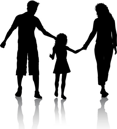 Silhouette of a family walking Vector