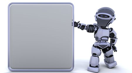 cute robot: 3D render of a robot and blank sign Stock Photo