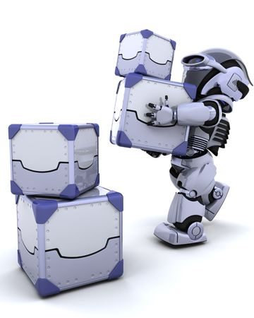 3D render of a robot moving shipping boxes Stock Photo - 6604068