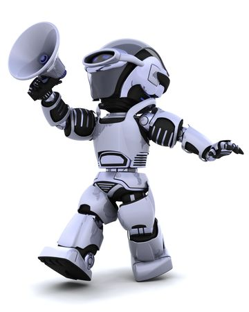 talking robot: 3D de procesamiento de un robot gritando en meg�fono  Foto de archivo