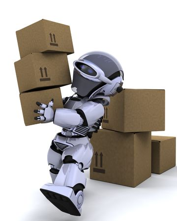 3D render of a robot moving shipping boxes Stock Photo - 6604065
