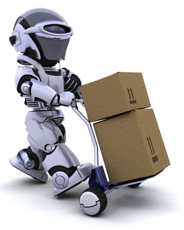 3D render of a robot moving shipping boxes Stock Photo - 6604070