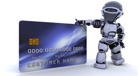3D render of a robot and charge card Stock Photo - 6604069
