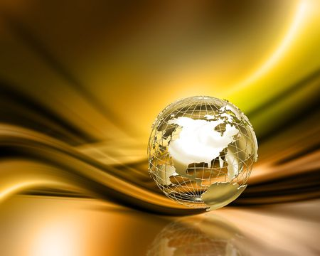 wireframe globe: 3D wireframe globe on abstract gold background Stock Photo