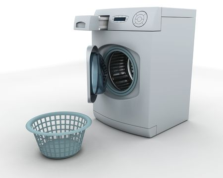 3D render of a washing machine and laundry basket photo