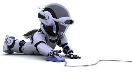 3D render des Roboters mit einer Computermaus