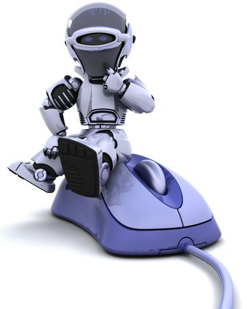 3D render of robot with a computer mouse Stock Photo - 6604058