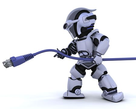 3D Render of a robot with RJ45 network cable Stock Photo - 6604056