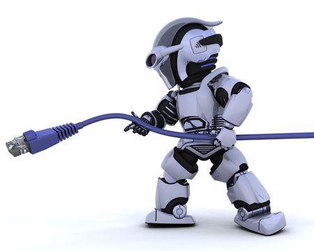 robot: Procesamiento de 3D de un robot con cable de red RJ45 Foto de archivo