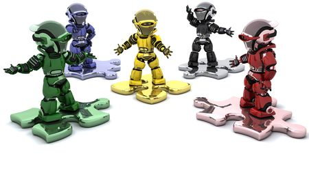3D render of robots on jigsaw pieces solving problems photo