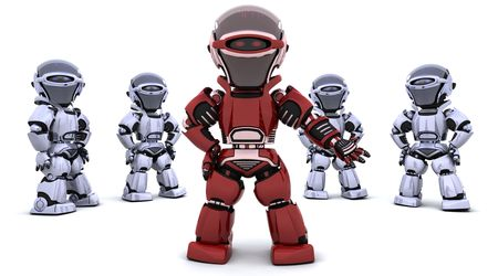 3D render of a red robot leading a team Stock Photo - 6604080
