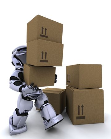 3D render of a robot moving shipping boxes Stock Photo - 6604061