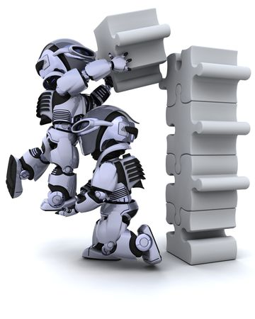 3D render of a robot solving jigsaw puzzle photo