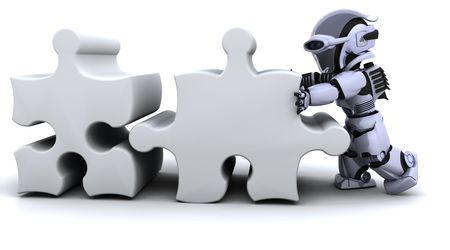 3D render of a robot solving jigsaw puzzle Stock Photo - 6604051