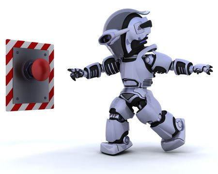 3D render of a robot and push button Stock Photo - 6604064