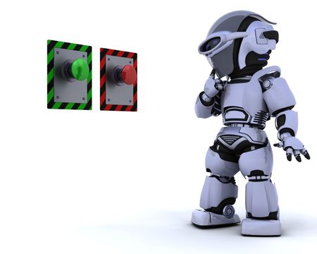 3D render of a robot and push button Stock Photo - 6604057